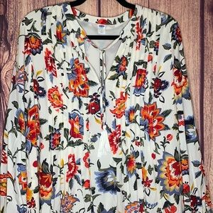 Old Navy floral boho pleated front tie tunic dress